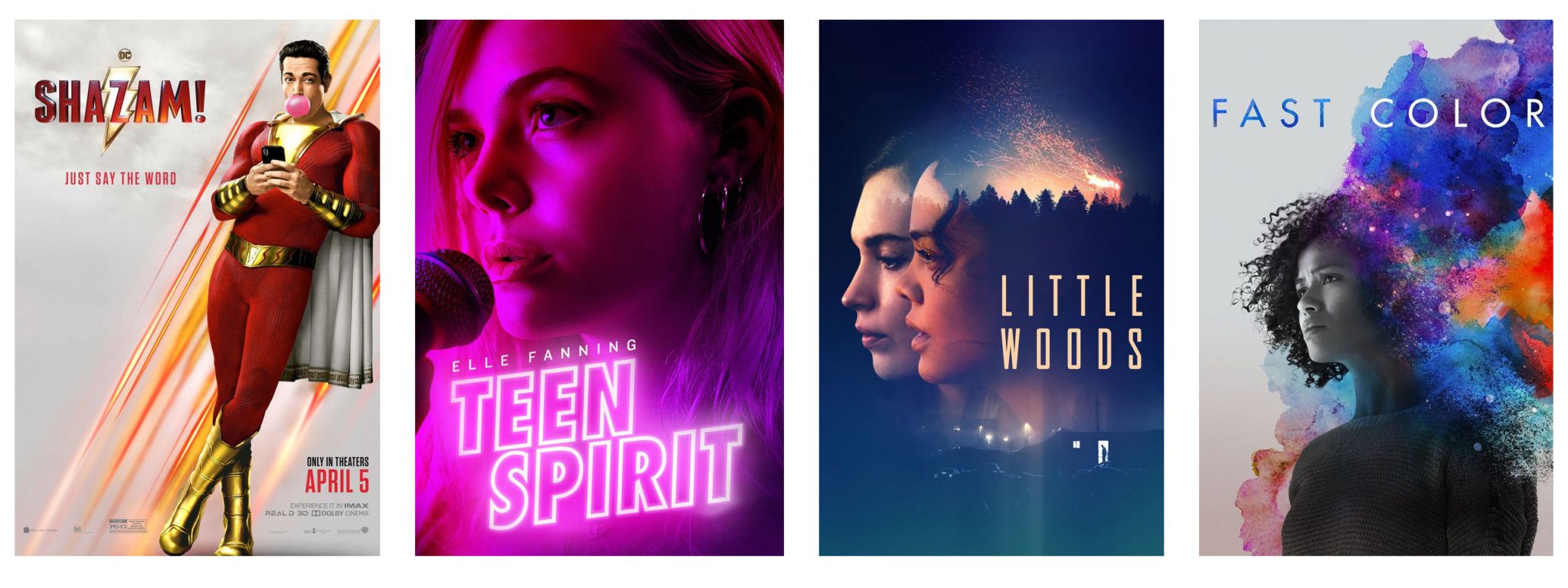 featured new releases: shazam, teen spirit, little woods, fast color